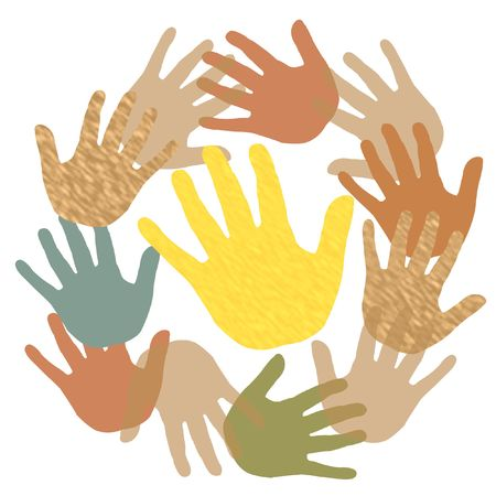 assorted colored hands in a circle on white illustration