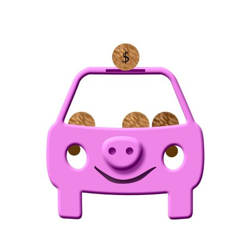pink smiling piggy bank auto on white illustration