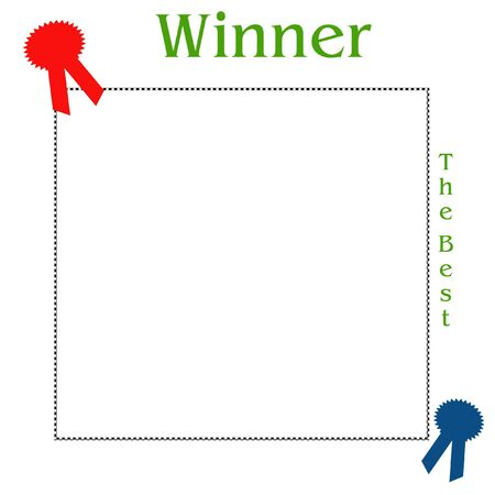 winners red and blue ribbons on white background scrapbook frame
