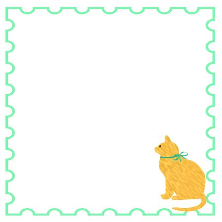 yellow cat with ribbon on solid background illustration Stock Illustration - 5376188