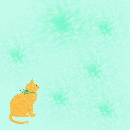 yellow cat with ribbon on solid background illustration Stock Illustration - 5376187