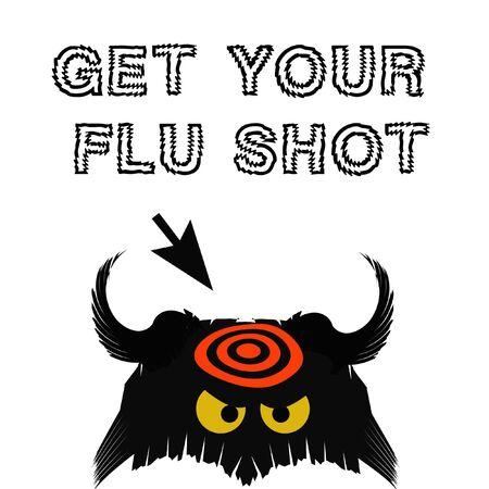 flu shot: flu germ black with red target on white illustration Stock Photo