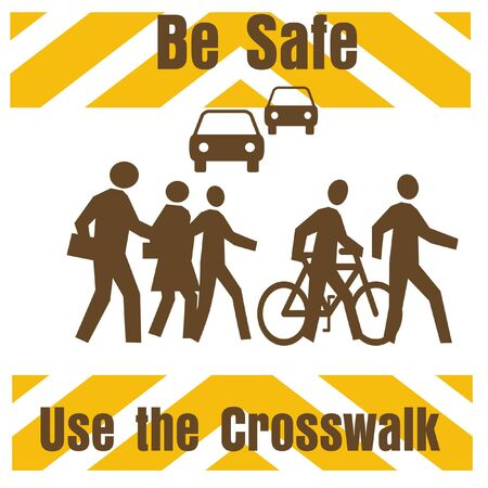 crosswalk: crosswalk safety sign pedestrians and traffic on white illustration Stock Photo