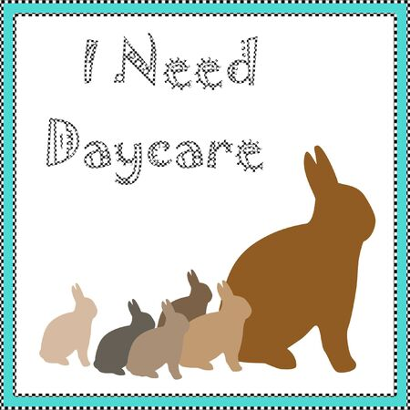 daycare rabbit family bunnies in blue frame illustration Imagens