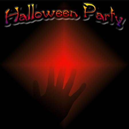 Halloween party poster faint hand on black and red illustration