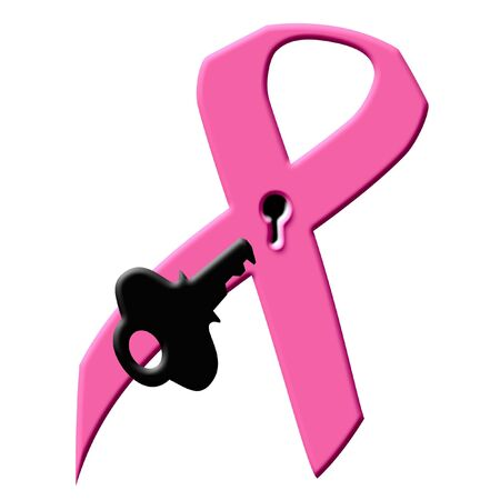 pink ribbon with keyhole and key breast cancer research illustration