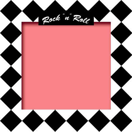 검정 및 흰색 타일 배경과 분홍색 프레임 그림