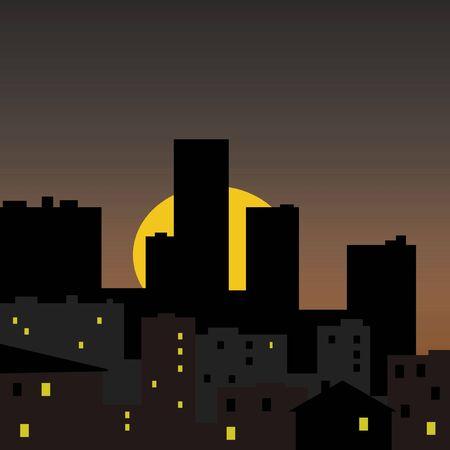 dark city with sun rising behind buildings illustration
