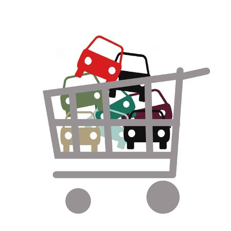 assorted colorful autos in shopping cart illustrations