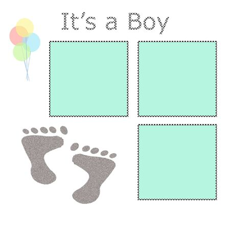 its a boy: its a boy footprints scrapbook page balloons on white