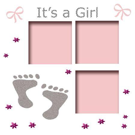 それは女の子の足跡のスクラップ ブック ページの白地にピンクの弓 写真素材 - 5491644