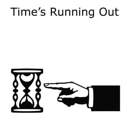 hand pointing to hourglass on white background illustration