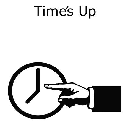 hand pointing to clock on white background illustration Stock Illustration - 5491646