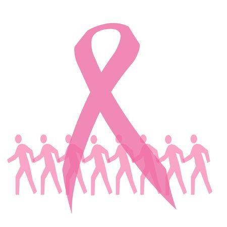 핑크 리본 및 유방암 그림에 대 한 산책하는 사람들