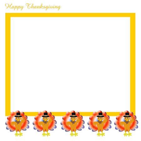 pilgrim hat: Thanksgiving pilgrim turkeys scrapbook frame on white illustration  Stock Photo