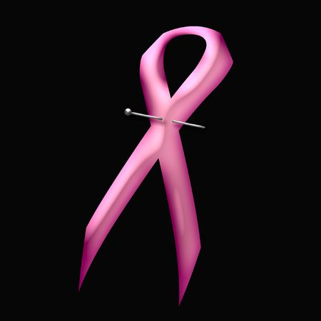 pink ribbon pinned to solid background illustration