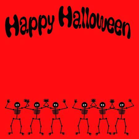 Halloween dancing skeletons poster black on red Zdjęcie Seryjne