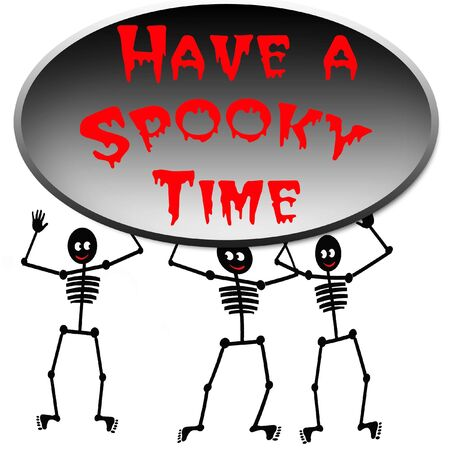Halloween dancing skeletons poster black and red photo