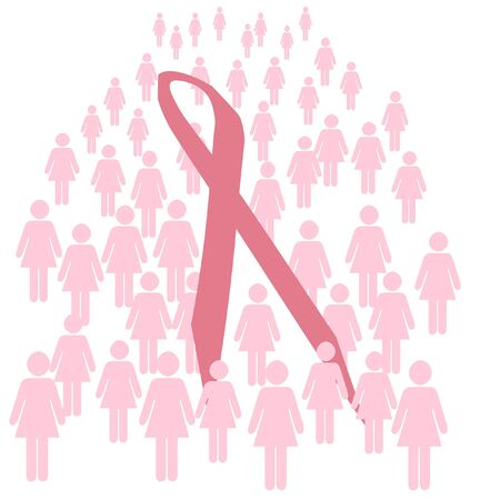 pink ribbon and people walking for breast cancer illustration Imagens