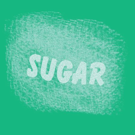 illustrated: white sugar scattered on teal background illustrated sign