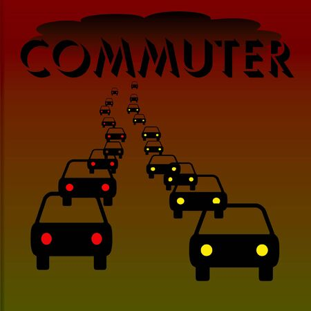 headlights: commuter traffic headlights and taillights on dark highway illustration