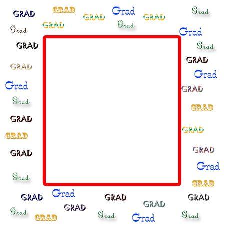 卒業生盛り合わせホワイト バック グラウンド スクラップ ブックのフレームに単語の卒業生