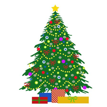 christmas tree illustration: Christmas tree ornaments and gifts illustration on white  Stock Photo