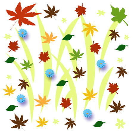 leaves and flowers autumn color illustration on white illustration
