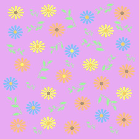 spring pastel flowers and leaves background illustration