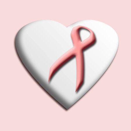 pink ribbon inside heart illustration solid background Фото со стока