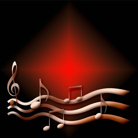 musical notes poster pink on dark background illustration