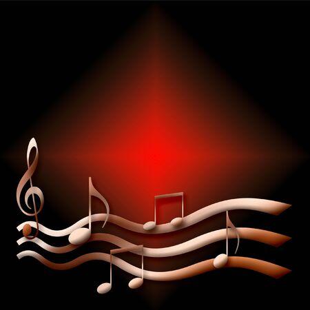musical notes poster pink on dark background illustration