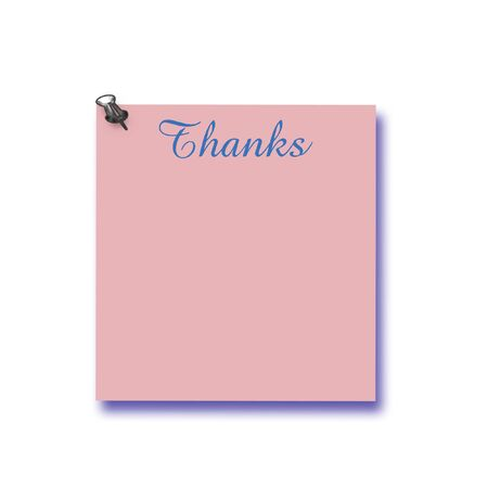 note of thanks thumb-tacked to solid background illustration Banco de Imagens