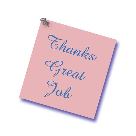 thumbtacked: note of thanks thumb-tacked to solid background illustration Stock Photo