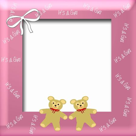 its a girl teddy bears and bow scrapbook page illustration