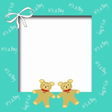 its a boy: its a boy teddy bears and bow scrapbook page illustration