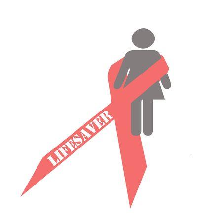 pink ribbon with slogan on white background illustration Stok Fotoğraf