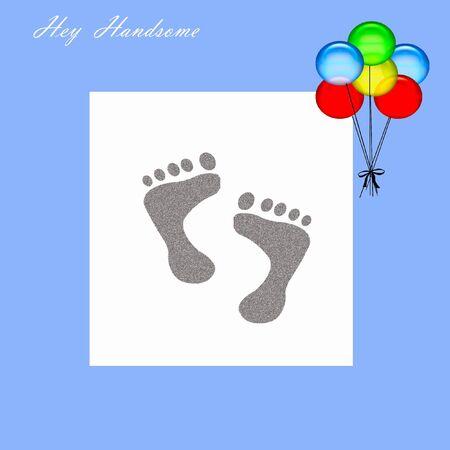 ちょっとハンサムな男の子のスクラップ ブック ページ図は足跡ブルーの風船 写真素材