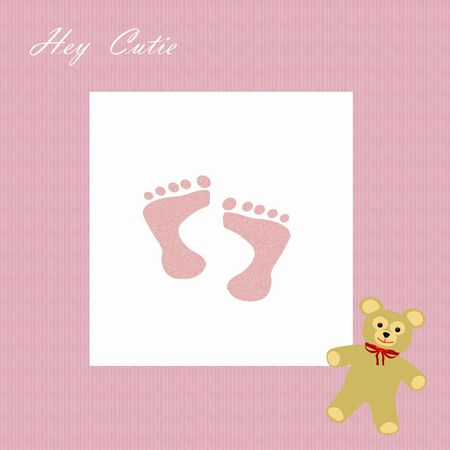 hey cutie girl footprints and teddy bear on pink scrapbook page illustration Stok Fotoğraf