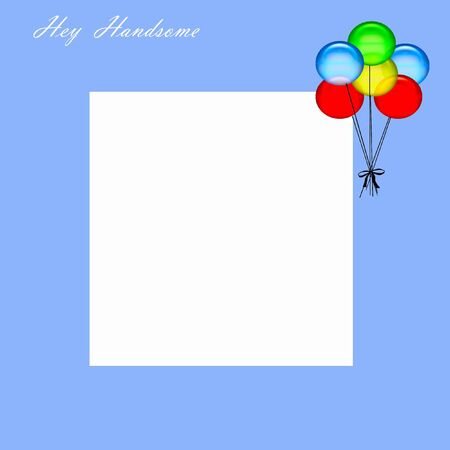 hey handsome boy scrapbook page illustration balloons on blue