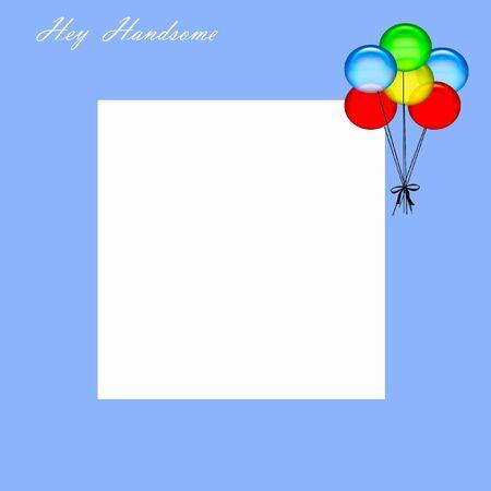 hey handsome boy scrapbook page illustration balloons on blue illustration