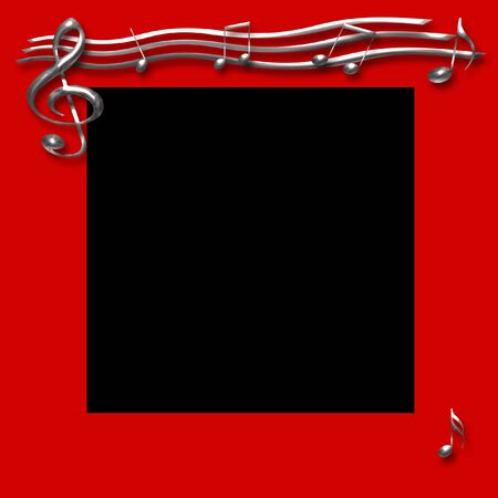 chrome musical notes on red background illustration