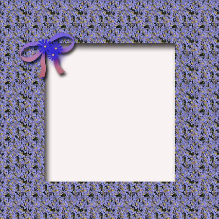 blue forget-me-not and bow on cutout scrapbook frame illustration