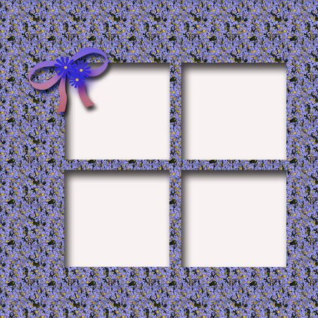 tribute: blue forget-me-not and bow on cutout scrapbook frame illustration
