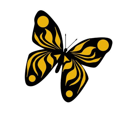 flit: colorful yellow butterfly on white background illustration