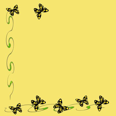 flit: colorful yellow butterflies and vines solid background illustration