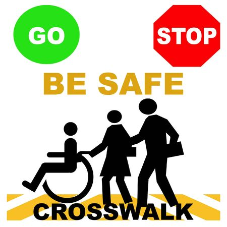 crosswalk safety pedestrians and red green stop go signs illustration