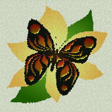 colorful mosaic tile butterfly on peach flower illustration Stock Photo