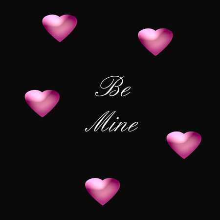 be: pink valentine be mine hearts on black background  illustration Stock Photo