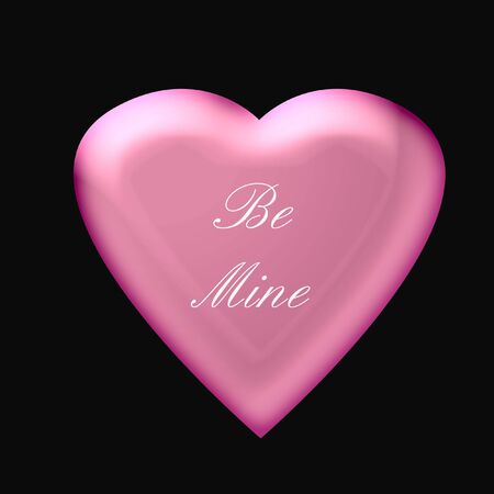 be: pink valentine be mine heart on black background  illustration Stock Photo